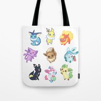 umbreon Tote Bags featuring Colorful Evolutions by Kaydee Elaine - Odd Kitten Art