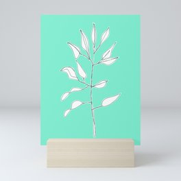 One line plant with background Mini Art Print