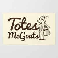 totes Area & Throw Rugs featuring Totes McGoats by Scoggz