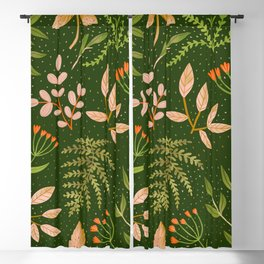 Leaves flowers seamless pattern Blackout Curtain