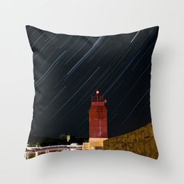 Lighthouse and star trails Throw Pillow