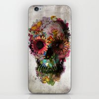 black iPhone & iPod Skins featuring SKULL 2 by Ali GULEC