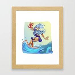 Surfer Neptune Framed Art Print