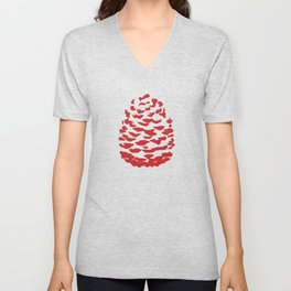 Pinecone Red and White Unisex V-Neck