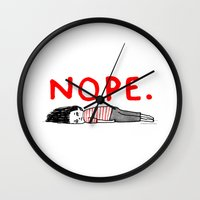 pop art Wall Clocks featuring Nope by gemma correll