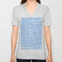 Modern pastel blue white dog typography pattern Unisex V-Neck