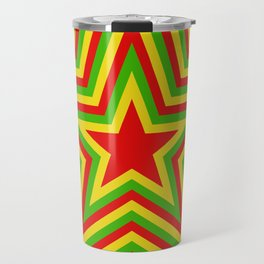 colorful concentric rasta star pattern Travel Mug