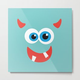 Horny blue monster Metal Print