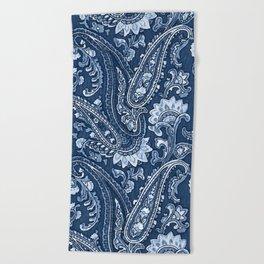 Blue indigo paisley Beach Towel