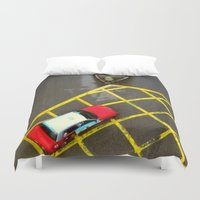 taxi driver Duvet Covers featuring Taxi  by Ethna Gillespie