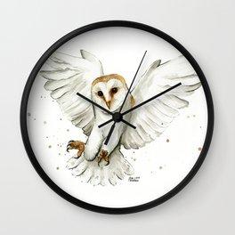 Barn Owl Flying Watercolor | Wildlife Animals Wall Clock