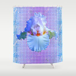 AWESOME BLUISH-WHITE PASTEL IRIS OPTICAL ART Shower Curtain