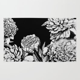 FLOWERS IN BLACK AND WHITE Rug