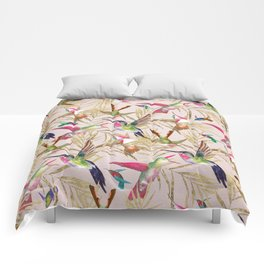 Colorful pink green hummingbird faux gold floral Comforters