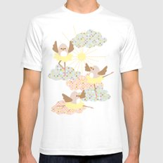 Dancing birds White Mens Fitted Tee SMALL