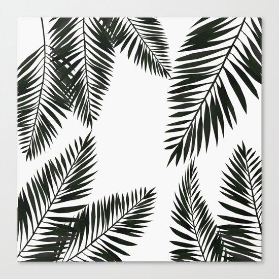 Black Watercolor Tropical Leaves Canvas Print