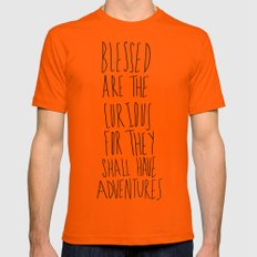 Curious Adventures Mens Fitted Tee LARGE Orange