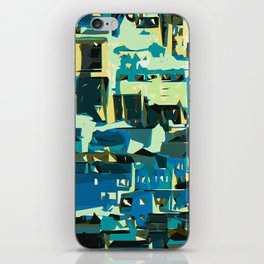 blue yellow green and dark blue geometric graffiti painting abstract background iPhone Skin