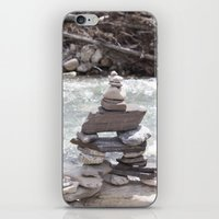 allyson johnson iPhone & iPod Skins featuring Johnson Canyon Inukshuk by RMK Creative