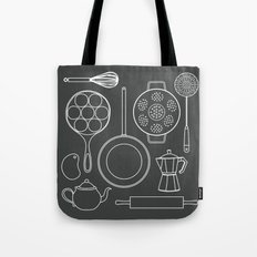 kitchen tools (white on black) Tote Bag