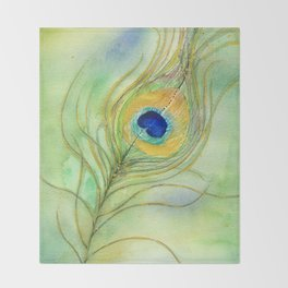 Abstract Peacock Feather Watercolor Throw Blanket