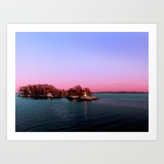Sunset over the Island Art Print