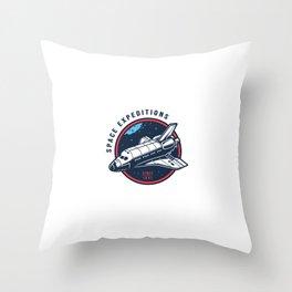 Vintage Space Round Emblem Set Throw Pillow