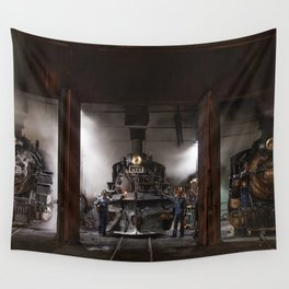 Locomotives Photograph Wall Tapestry