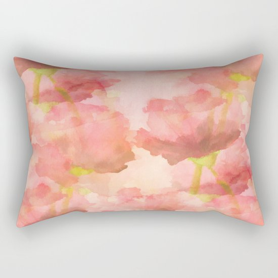 Delicate Pink Watercolor Floral Abtract Rectangular Pillow
