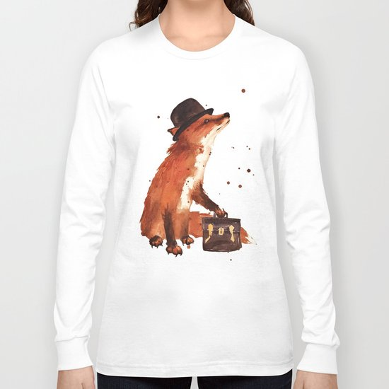 Fox in hat, office decor, gift for the boss, fox, fox painting, British fox Long Sleeve T-shirt