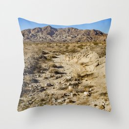 Dirt Trail Lines with Rocks Leading Back towards Granite Mountain in the Anza Borrego Desert Throw Pillow