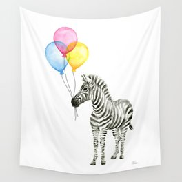 Zebra with Balloons Watercolor Baby Animals Wall Tapestry