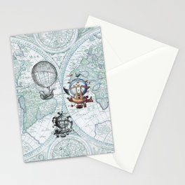 Hot Air Balloons on Antique Map - blue Stationery Cards