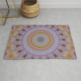 Mandala Of Yellow and Pink Roses Rug