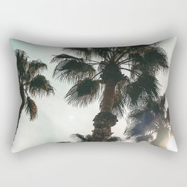 Palm Tree Art Print {1 of 3} | Teal Pastels Topical Beach Plant Nature Vacation Sun Vibes Artwork Rectangular Pillow