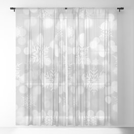 Christmas Snowflakes Bokeh Silver Pattern Sheer Curtain