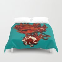 karma Duvet Covers featuring Karma by angrymonk