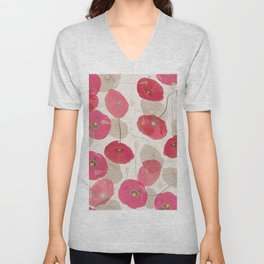 Coral Pink on White Grey Floral Pattern Unisex V-Neck