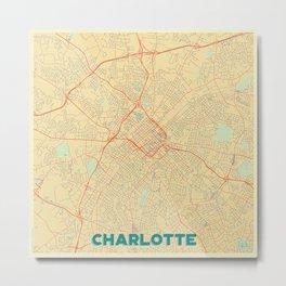 Charlotte Map Retro Metal Print