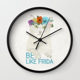 Be like Frida! White cat in flower crown Wall Clock