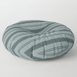 Night Watch Color of the Year PPG1145-7 Thick and Thin Horizontal Stripes on Scarborough Green Floor Pillow