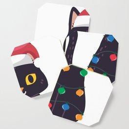 Black Cat Christmas Light Tee I Kitten Lovers Gift Coaster
