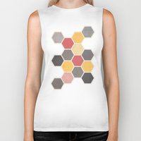 honeycomb Biker Tanks featuring Honeycomb 3 by K&C Design