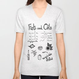 Fats & Oils - Food & Chemistry [Doodle & Handlettering] Unisex V-Neck