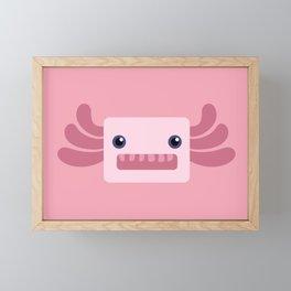 Cute Pastel Pink Axolotls Pattern Framed Mini Art Print
