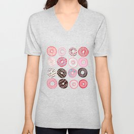 Vector pattern with sweet pink donuts design Unisex V-Neck