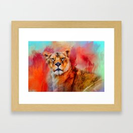 Colorful Expressions Lioness Framed Art Print