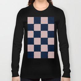 Dusty Rose and dark blue checks - soft pastel Long Sleeve T-shirt