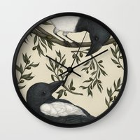 good omens Wall Clocks featuring Good Omens by Jessica Roux