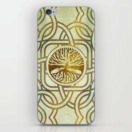 Golden Tree of life  -Yggdrasil on vintage paper iPhone Skin